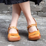 Square Toe Casual Leather Vintage Loafers