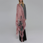 Women Ink Printing Cotton Linen Blend Long Scarf