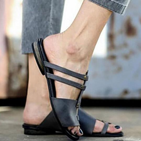 8248468ee Plain Flat Peep Toe Casual Sandals Slippers - gifthershoes