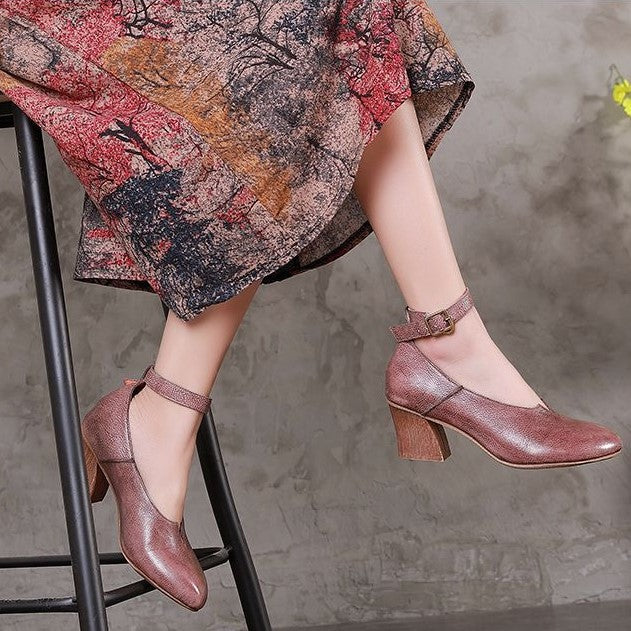 Handmade Adjustable Buckle Leather Med Heel Boots Women Sandals