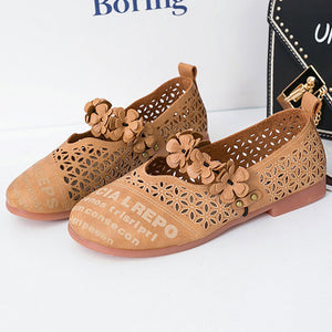 Letter Printing Flower Hollow Out Casual Soft Sole Flat Shoes