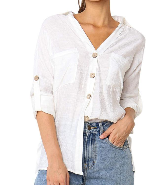 Women Casual Linen Buttoned V Neck Blouses Tops