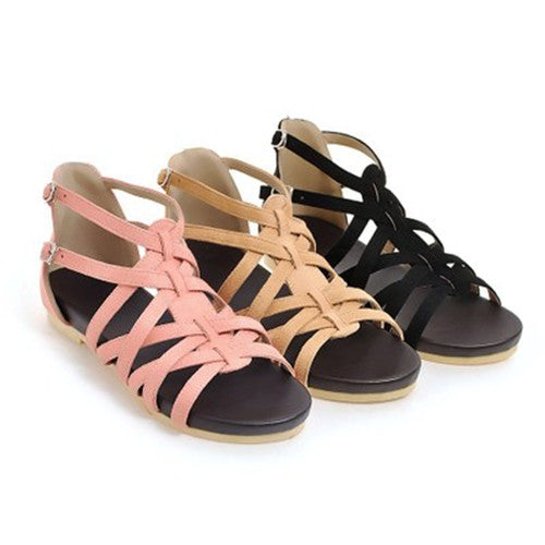 Women Casual Flat  Heel Ankle Strap Sandals