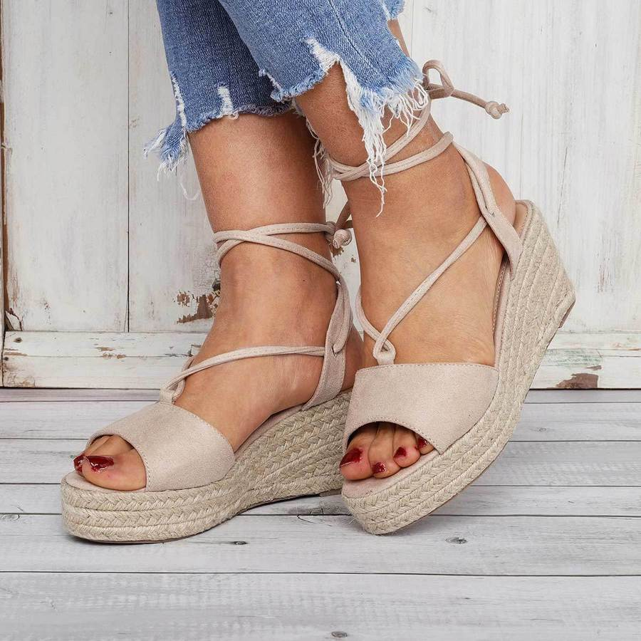 b0e152865fb Summer Lace-Up Espadrilles Wedge Sandals