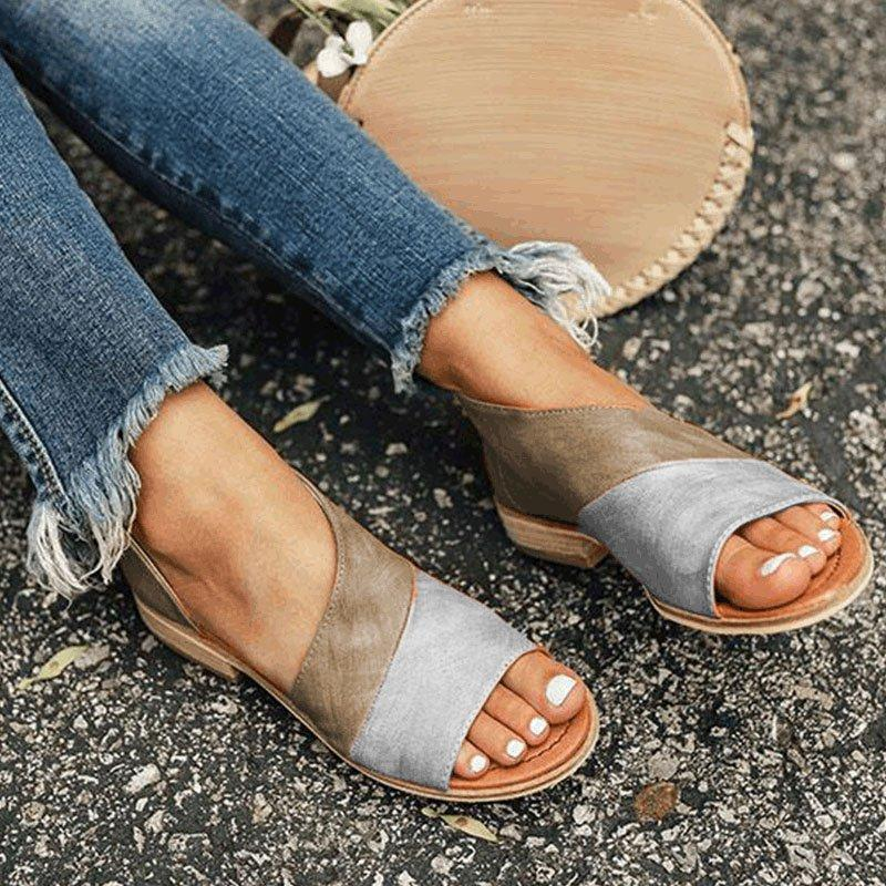 Women Daily Low Heel Panel Sandals