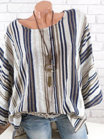 Plus Size Striped Crew Neck Sling Sleeve Blouse