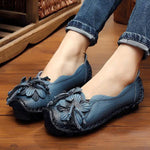 Women Summer Artificial Leather Handmade Flower Loafers Soft Flat Casual Shoes