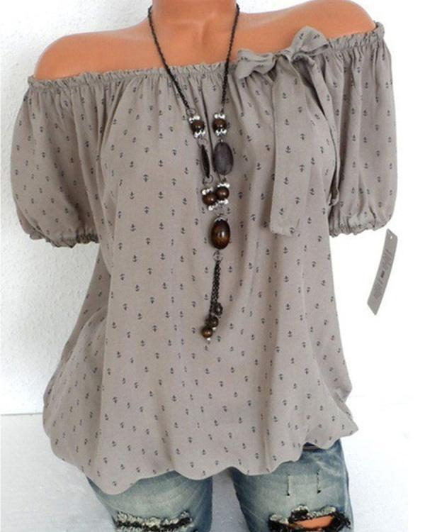 Collarless Bow Print Blouses