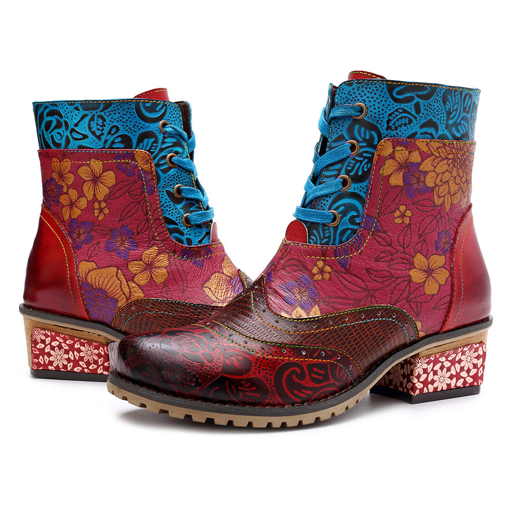 Casual Vintage Leather Zipper Lace-up Printing Boots