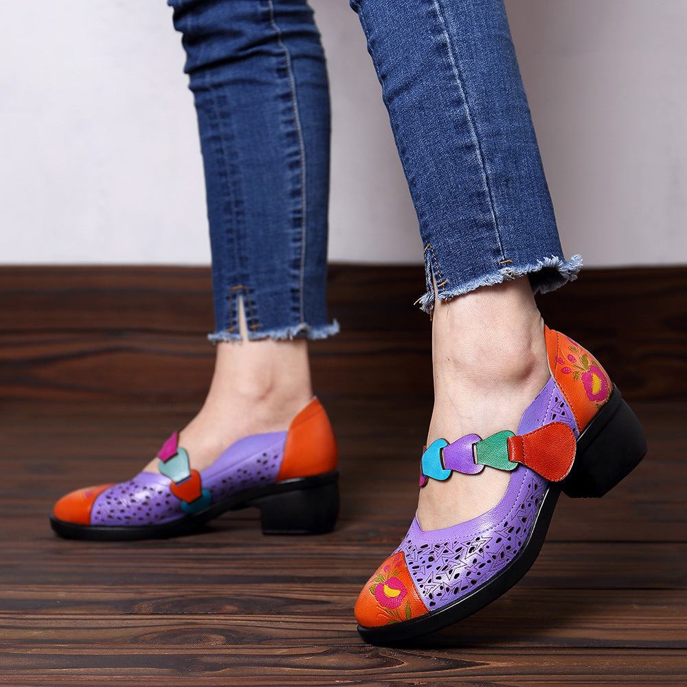 Hollow Out Block Heels Ethnic Vintage Sandals