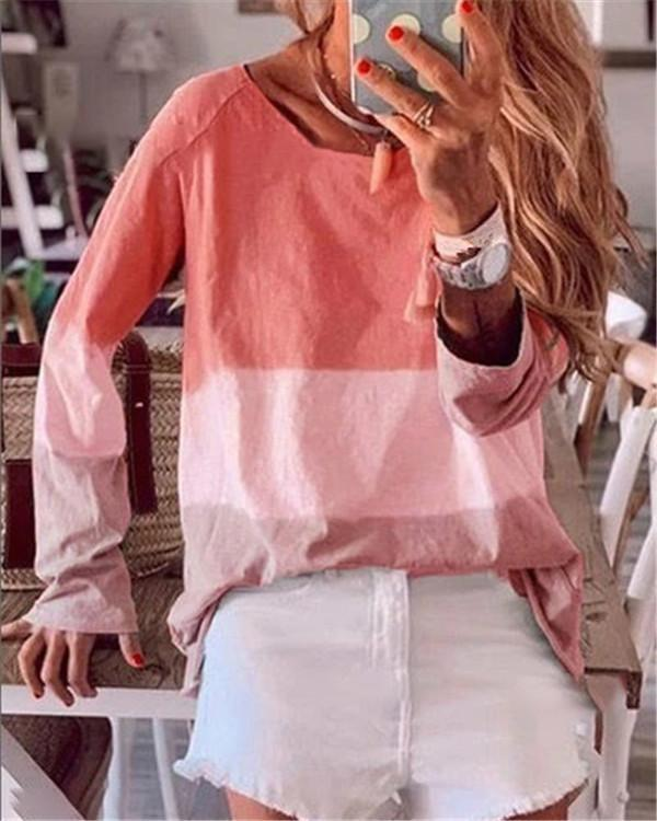 Gradient Plus Size Shorts Loose Casual Holiday Daily Blouse