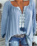 Long Sleeve Casual Solid V neck Plus Size Blouse