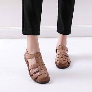 Women Casual Soft Leather Hollow Closed Toe Hook Loop Flat Sandals