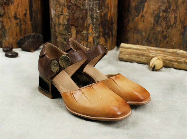 Elegant Retro Comfortable Square Head Leather Women's Sandals Shoes