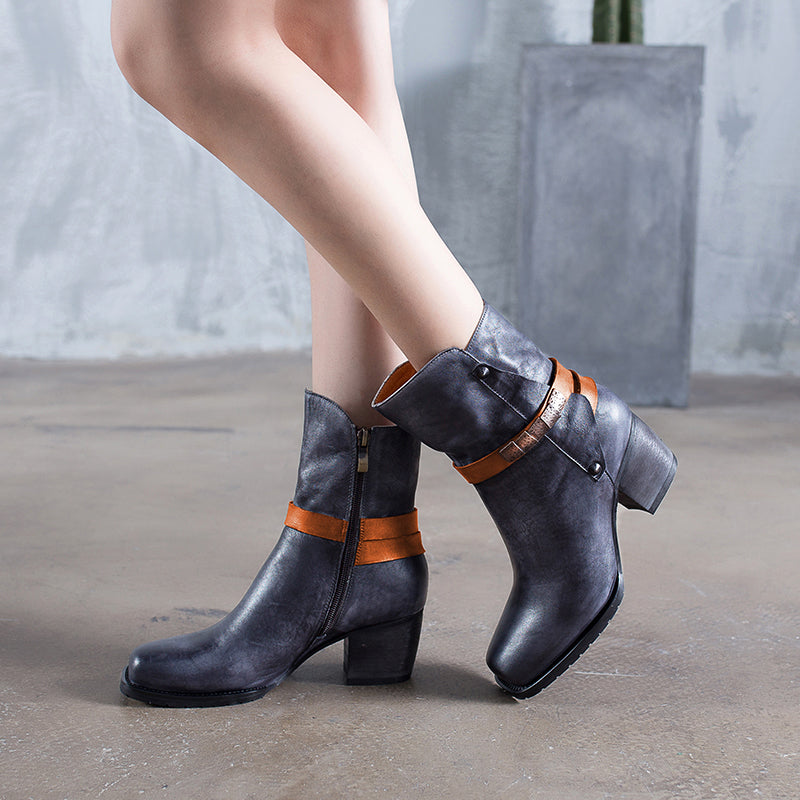 Vintage Genuine Leather Zipper Chunky Heel Buckle Boots
