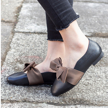 Casual Leather Women's  Bow Eound Head Low Heel Flat Loafers shoes