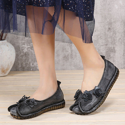 Original Leather Handmade Flower Flat Loafers