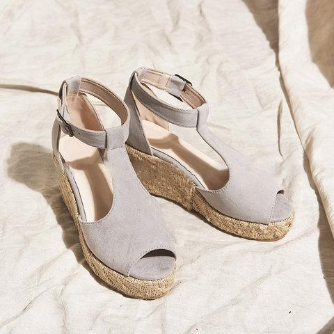 Women T-Strap Espadrilles Wedges Plus Sizes Wedge Sandals