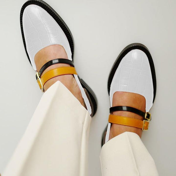 fdf99077aac4d Women's Vintage Color Block Shoes Buckle With Ladies Loafers