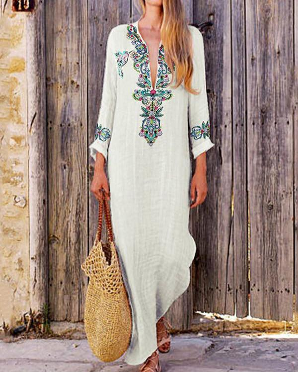 Stand Collar Light_green Women Beach Long Sleeve Holiday Tribal Casual Dress