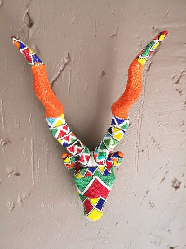 Beaded wooden Kudu Skull 60cm x 20cm