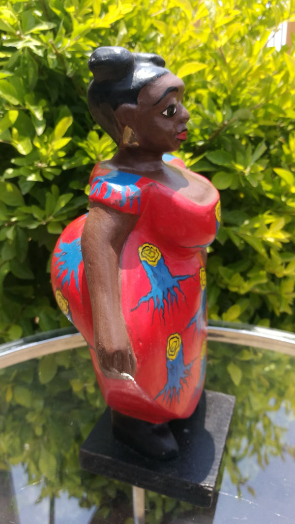 African Colonial Fat Lady Statues 25cm.