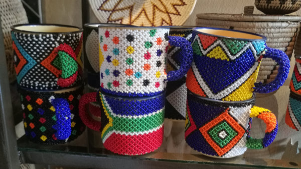 Ndebele Hand Beaded Enamel Cups.