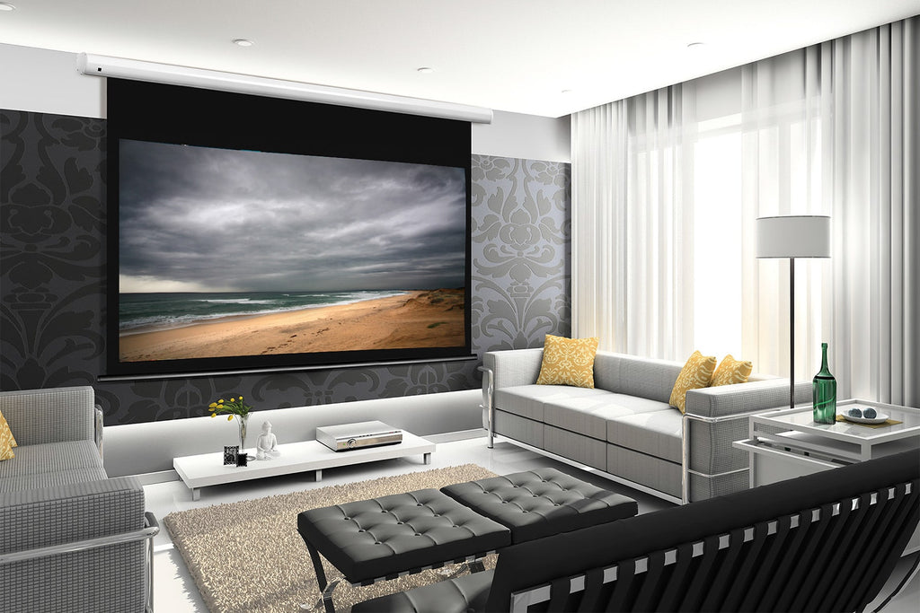 Arcus Series motorized home theatre projector screen.