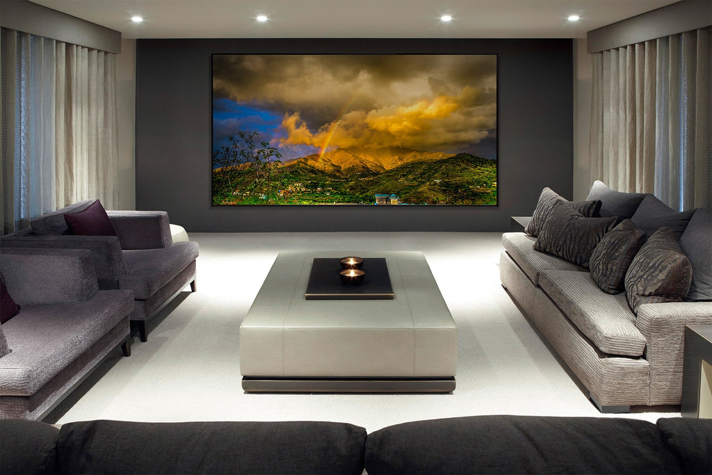 Home theatre with a Nero thin bezel home theatre projector screen