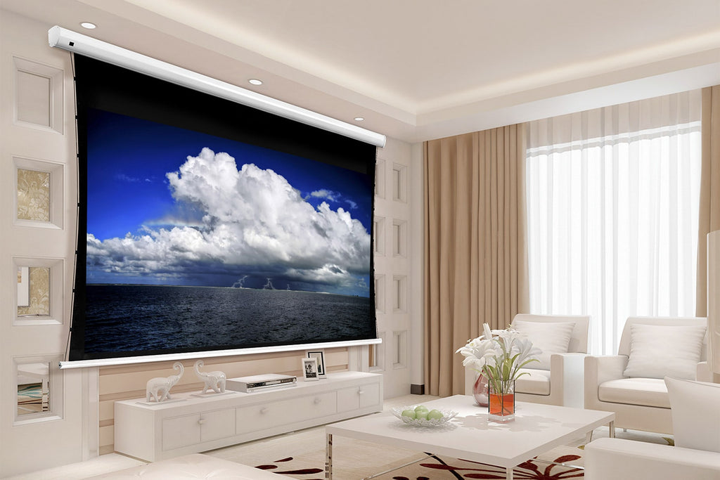 Tauten Series motorized, tab-tensioned home theatre projection screen.