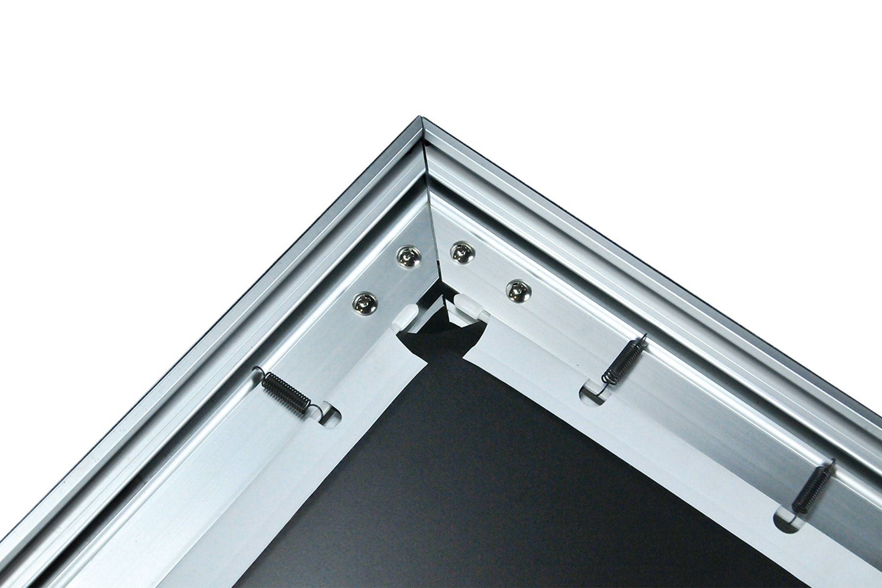 Detail showing tension springs of Stratus accoustically transparent fixed frame projector screen