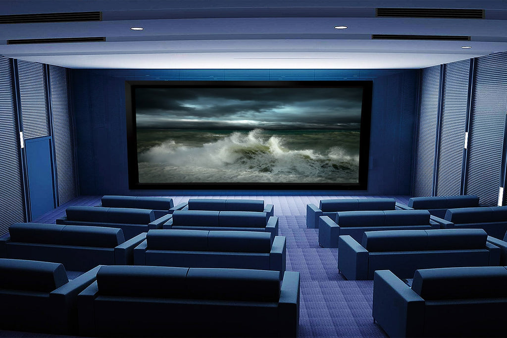 Theatre with Stratus accoustically transparent fixed frame projector screen