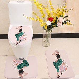 Modeling Girl 3 Piece Toilet Cover Set