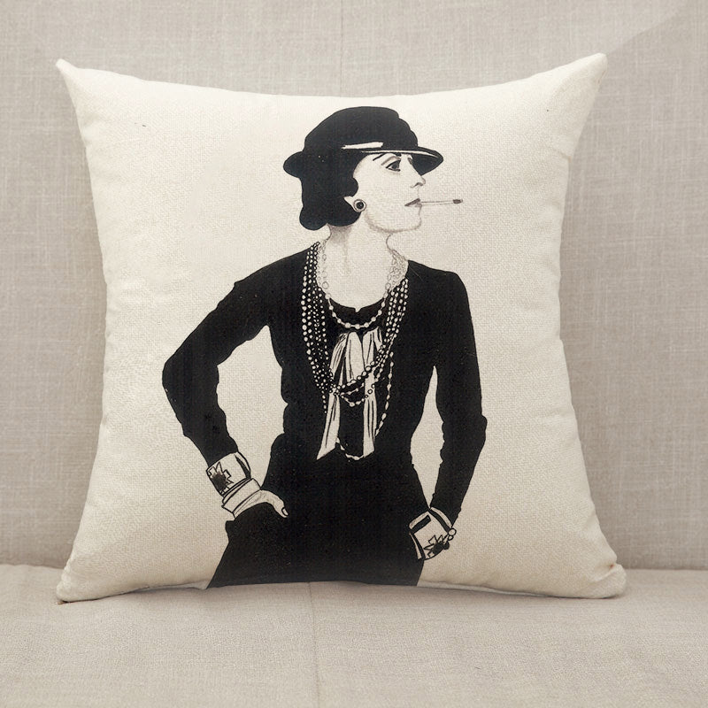 Miss COCO Chanel Throw Pillow [With Inserts]