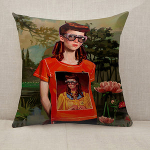 Fashion Girl with Glasses Throw Pillow [With Inserts]