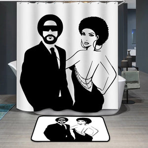 African Man and Woman Couple Shower Curtain