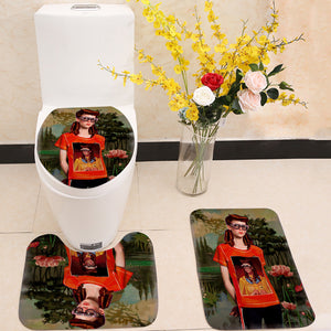 Fashion Girl with Glasses 3 Piece Toilet Cover Set
