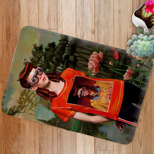 Fashion Girl with Glasses Bath Mat