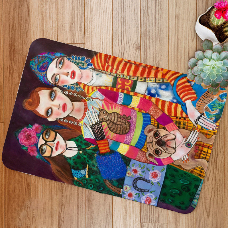 Three Fashion Girls Bath Mat