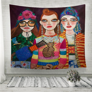 Three Fashion Girls Wall Tapestry