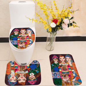 Three Fashion Girls 3 Piece Toilet Cover Set