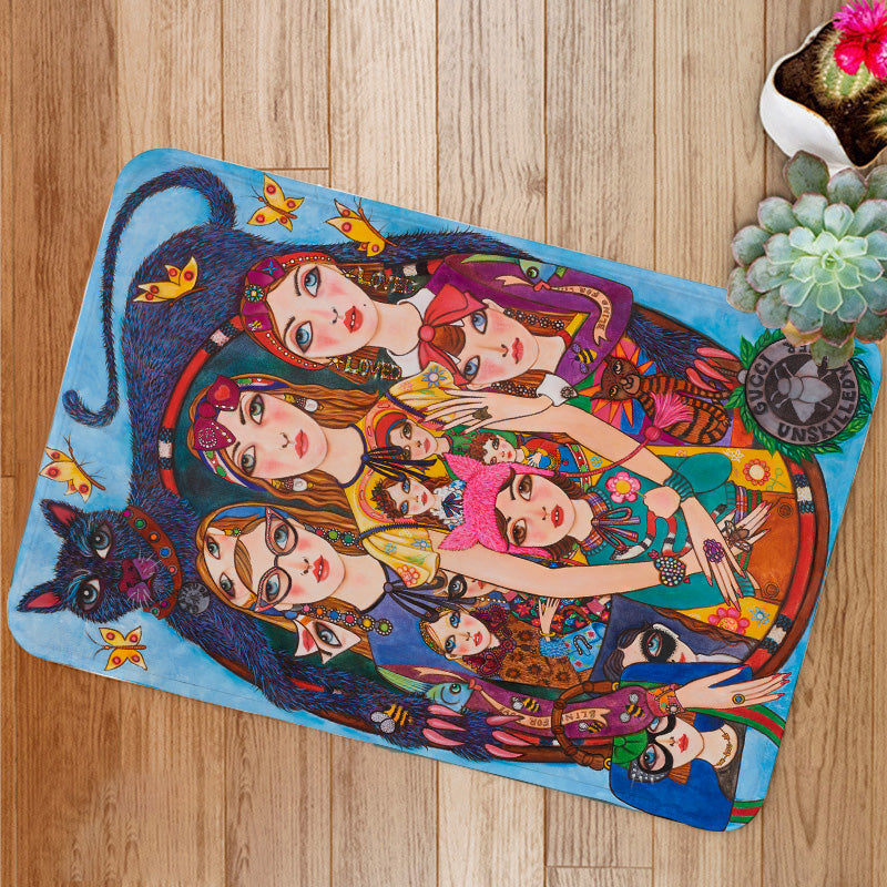 Three Fashion Girls with Cat Bath Mat
