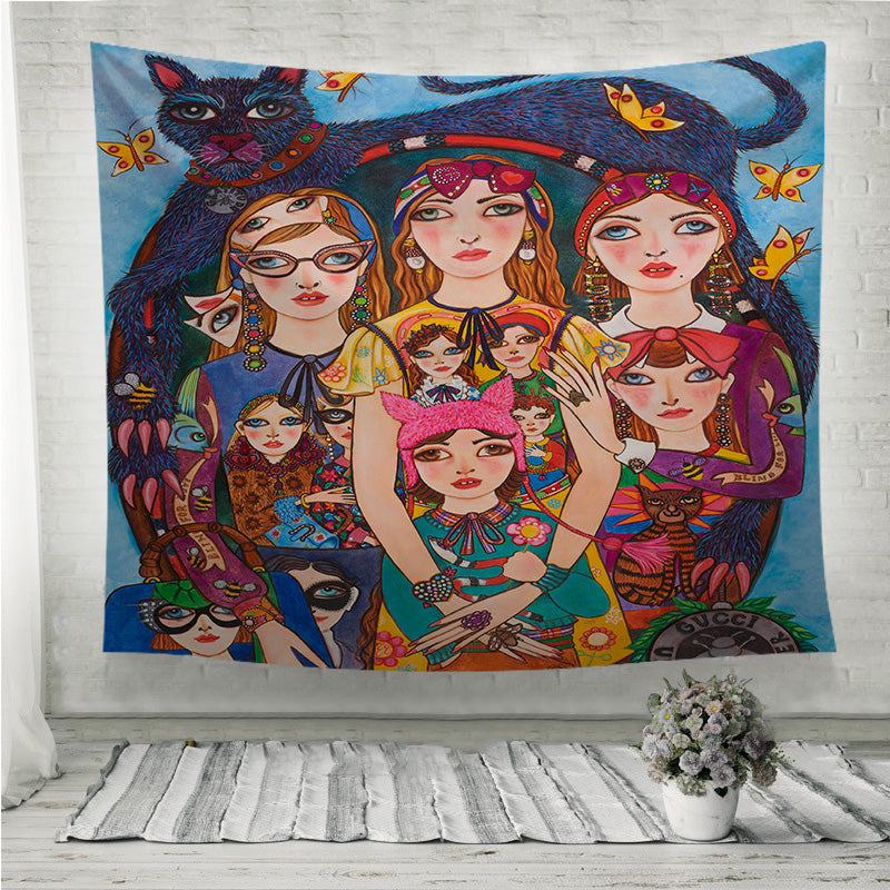 Three Fashion Girls with Cat Wall Tapestry