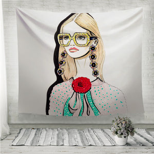 Girl with Glasses Red Flower Wall Tapestry