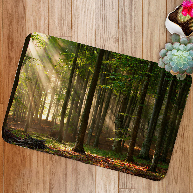 Autumn Forest Trees Bath Mat