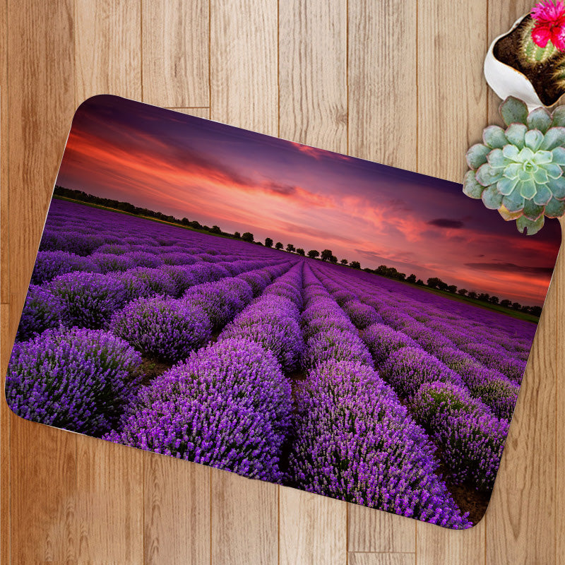 Lavender Field Sunset Bath Mat