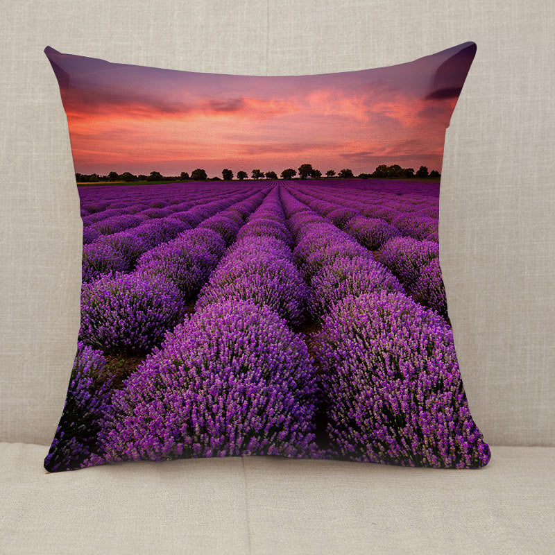 Lavender Field Sunset Throw Pillow [With Inserts]