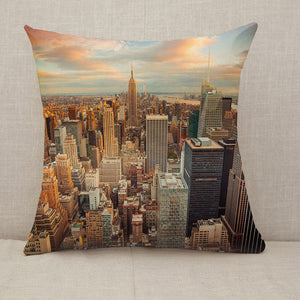 Sunset Aerial View Manhattan New York City Throw Pillow [With Inserts]