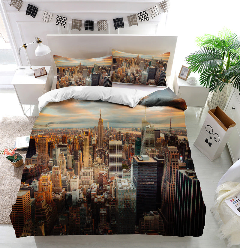 Sunset Aerial View Manhattan New York City Duvet Cover Bedding Set
