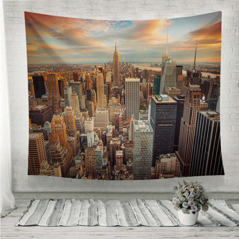 Sunset Aerial View Manhattan New York City Wall Tapestry